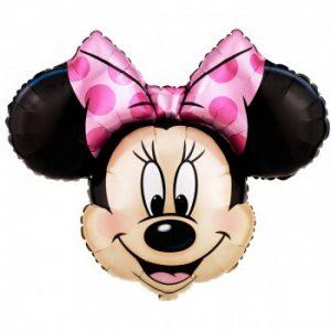 Palloncino Minnie Gigante a forma di testa di Topolina per allestimenti baby shower, primo compleanno, battesimo