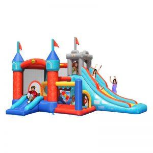 Vendita online gonfiabile leggero Medioevo di Happy Hop, gonfiabile castello medievale con doppio scivolo per bambini