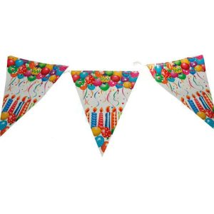 festone di bandierine con disegni colorati di palloncini e candeline per addobbare e allestire una festa di compleanno
