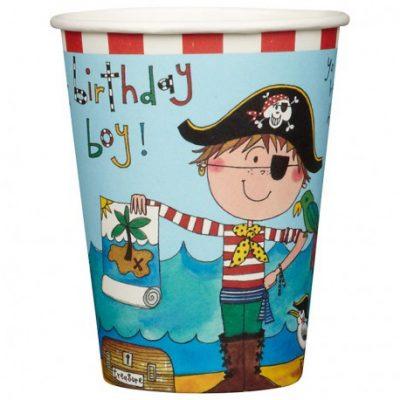bicchieri di carta a tema pirati per feste di compleanno