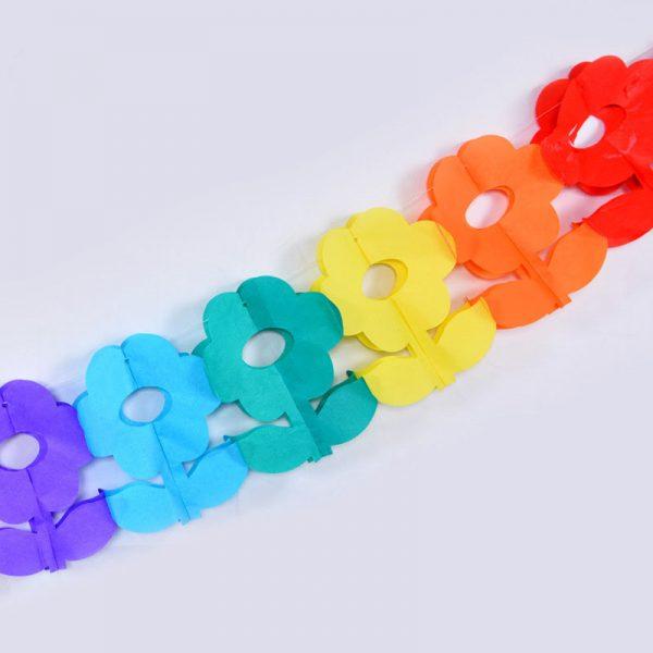 ghirlanda di carta per compleanni e feste a forma di fiori colorati arcobaleno