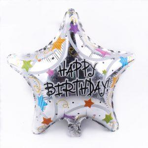 palloncino a forma di stella colore argento olografico con la scritta Happy Birthday