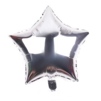palloncino a forma di stella colore argento in mylar foil
