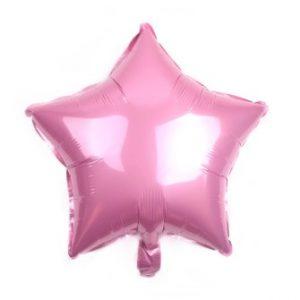 palloncino a forma di stella colore rosa in mylar foil