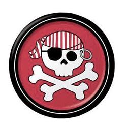 piatti di carta a tema pirata con teschio colori tema rosso e nero