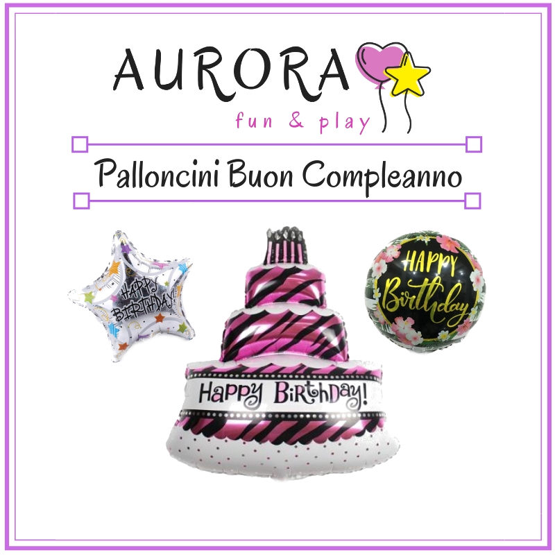vendita online palloncini in mylar e foil metallizzato con scritta di buon compleanno